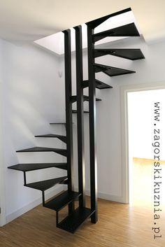 metal stairs by www.zagorskikuznia.pl Modern Stairs, House Stairs, Attic Stairs, Staircase Design, Spiral Staircase, Stairways, Stair Elevator, Stairs To Heaven, Railings
