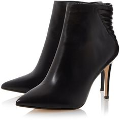 ONA Leather Pointed Toe Heeled Ankle Boot BLACK (1.395 NOK) ❤ liked on Polyvore featuring shoes, boots, ankle booties, heels, booties, black high heel boots, high heel ankle booties, black high heel booties, black heel booties and black booties