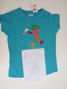 camiseta diseñada por una niña de 4 años