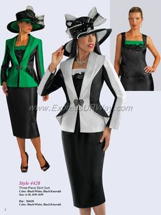 2015 Suit Collection Black / White Black / Emerald Sizes 6-26W