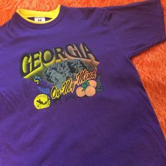 bf509dd2f Vintage Georgia On My Mind t-shirt with cities listed. Has - Depop Yellow