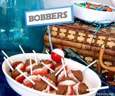 Fishing party bobbers - cake bites on a stick!