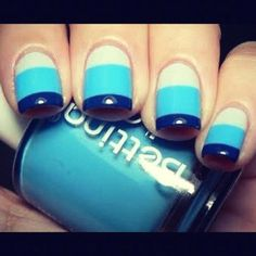 Nautical nails - for Bev's hen do, maybe? Nail Designs 2014, Cute Easy Nail Designs, Short Nail Designs, Do It Yourself Nails, How To Do Nails, Cute Simple Nails, Pretty Nails, Striped Nails, Blue Nails