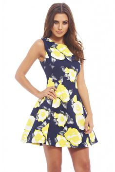 YELLOW FLORAL SKATER DRESS $28 http://shopmodmint.com/product/yellow-floral-skater-dress-2/