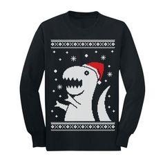 e87c1a44 Ugly Christmas Sweater Big Trex Santa - Children Funny Youth Kids Long  Sleeve T-Shirt