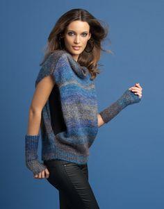 Rivista Donna Elegance 76 Autunno / Inverno   16: Donna Maglione - Maglia   Grigio-Blu / Blu oltremare
