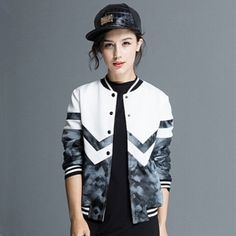 Geometric jacket XXL personalized womens bomber jacket for autumn Printed Bomber Jacket, Black Bomber Jacket, Black And White Design, Clothing Items, Jackets For Women, Street Style, Casual, How To Wear, Autumn