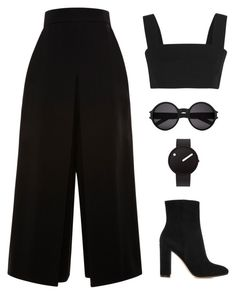 """Bez tytułu #103"" by astraik ❤ liked on Polyvore featuring Balmain, Gianvito Rossi, Proenza Schouler, Rosendahl, Yves Saint Laurent, chic, simple, simpleoutfit, simpleset and allblack"