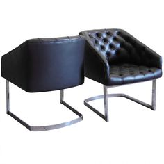 Pair of Dark Chocolate Tufted Leather & Steel Chairs | From a unique collection of antique and modern lounge chairs at http://www.1stdibs.com/furniture/seating/lounge-chairs/