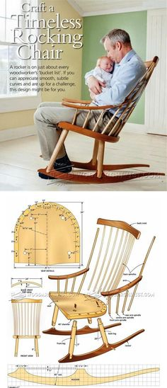 Rocking Chair Plans - Furniture Plans and Projects - Woodwork, Woodworking, Woodworking Plans, Woodworking Projects Woodworking Furniture Plans, Woodworking Workbench, Woodworking Projects Diy, Woodworking Shop, Woodworking Quotes, Intarsia Woodworking, Woodworking Patterns, Easy Wood Projects, Furniture Projects