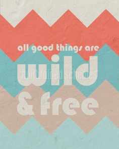 All Good Things Are Wild and Free - Henry David Thoreau- Home Decor-Tribal Chevron Tangerine Aqua Beige Grey - 8x10. $15.00, via Etsy.