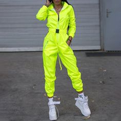 Neon Outfits, Swag Outfits For Girls, Hip Hop Outfits, Fashion Outfits, Ladies Fashion, Yellow Jumpsuit, Sports Skirts, Cyberpunk Fashion, Printed Jumpsuit
