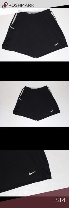 "Nike Dri-Fit Women's Black Athletic Shorts Nike Dri-Fit Women's Black Athletic Shorts Size Small. Zip pocket on back. Approximate measurements- waist side to side: 12"" Length: 14"" Nike Shorts"