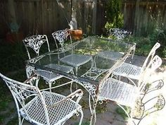 Vintage Wrought Iron Patio Set 2 Chairs Nesting Tables and Tea ...
