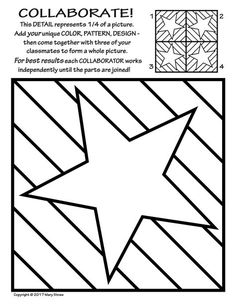 Radial Symmetry COLLABORATIVE Activity Coloring Pages 20 NEW, original tiles to decorate - then collaborate - for a rad radial artwork! Fourth of July. Collaborative Art Projects, Art Lessons Elementary, Art Graphique, Preschool Art, Elements Of Art, Art Classroom, Art Plastique, Art Activities, Teaching Art