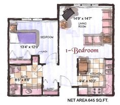 Victorian Heights Assisted Living 1 Bedroom Apartment Layout