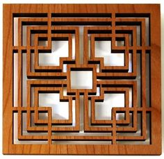 Storer Block Trivet now featured on Fab. frank Lloyd Wright archival drawings inspired the designs for these trivets Cnc, Window Grill, Different Types Of Wood, Grill Design, Wood Creations, Frank Lloyd Wright, Craftsman Style, Wood Art, Architecture Design