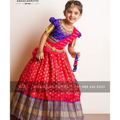 Half saree designs for girls by Angalakruthi kids pattu pavada designs half saree designs for kids kanchipuram silk half saree for kids pavadai sattai for girls in india by Angalakruthi Girls Frock Design, Long Dress Design, Kids Frocks Design, Kids Dress Wear, Kids Gown, Frocks For Girls, Dresses Kids Girl, Baby Girl Dress Patterns, Baby Dress
