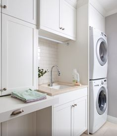 Full height laundry cabinets