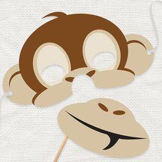 DIY party costume mask cheeky monkey printable file by iDIYjr
