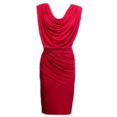 Beautifully draped Red dress.