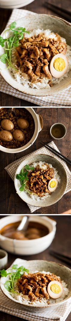 台灣ごはん: 魯肉飯 Taiwanese Braised Pork Over Rice (Lu Rou Fan). Taiwanese comfort food at its best. Melt in the mouth pork braised in a gorgeous thick sweet & savory sauce. So addictive you can't stop eating. Entree Recipes, Pork Recipes, Asian Recipes, Vegetarian Recipes, Cooking Recipes, Ethnic Recipes, Chinese Recipes, Chinese Food, Atkins Recipes