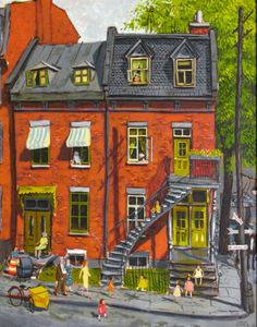 terresauvage: John Little Children Playing on The Corner of St. Urbain and Dorchester, 1955 House Illustration, Watercolor Illustration, Watercolor Paintings, Montreal Architecture, Art And Architecture, Cool Doodles, Art Diary, Naive Art, 2d Art