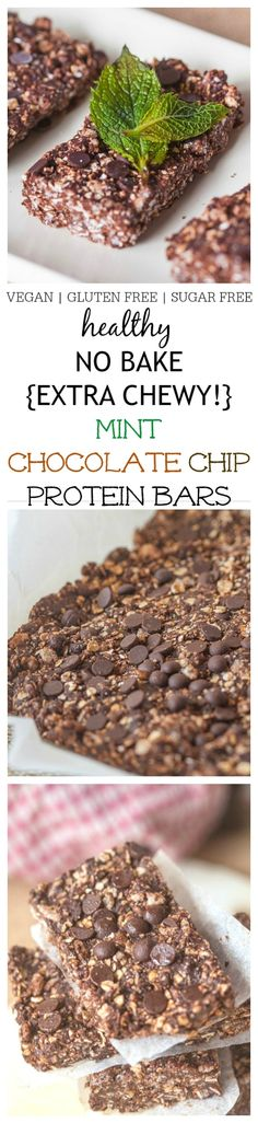 No Bake EXTRA CHEWY Mint Chocolate Chip Protein Bars- This chewy no bake protein bar recipe takes 1 bowl and 5 minutes of prep to have a batch of high protein snack bars on hand- These delicious and healthy bars are refined sugar free, dairy free and gluten free- Suitable for a vegan diet! @thebigmansworld - thebigmansworld.com