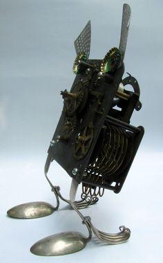 ROBOT SCULPTURE clockman assemblage art by BranMixArt on Etsy, $82.00