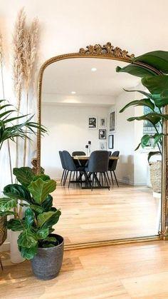 Mirror Decor Living Room, Bedroom Decor, Full Length Mirror In Living Room, Living Room Decor With Plants, Full Length Mirror Entryway, Large Bedroom Mirror, Large Gold Mirror, Gold Mirrors, Bedroom Mirrors