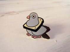 bread pigeon enamel pin by redribbonshoppe on Etsy