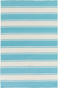 Presenting our new Habersham Striped Area Rugs in a Sky Blue and Ivory striped pattern of wide and thin stripes to create a decidedly beach house feel.