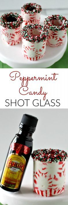Peppermint Candy Shot Glasses - The perfect DIY gift                                                                                                                                                                                 Mais