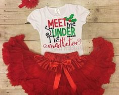 Mistletoe Outfit, Girls Christmas Outfit, Toddler Christmas Outfit, Christmas Party Outfit, Girls Holiday Outfit, Merry Christmas Outfit  PrincessKeepsakes Toddler Christmas Outfit, Girls Christmas Outfits, Christmas Dresses, Holiday Outfits, Mistletoe, Toddlers, Merry Christmas, T Shirts For Women, Party