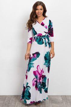 91c5a02d4afd Ivory Watercolor Floral Wrap Maxi Dress Maternity Maxi, Maternity Nursing,  Maxi Wrap Dress,
