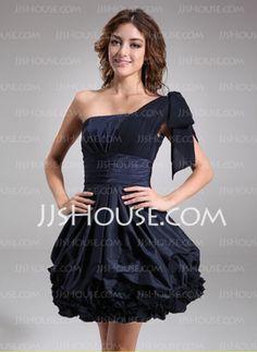 A-Line/Princess One-Shoulder Knee-Length Chiffon Taffeta Cocktail Dresses With Ruffle (016008242)