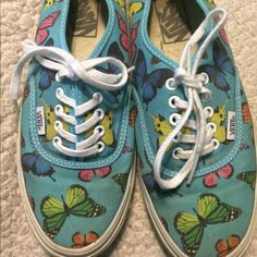 Vans blue butterfly shoes Vans blue shoes with rainbow butterflies. Worn once, in almost perfect condition. Vans Shoes