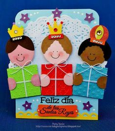 Three Kings Day Cards by Patty Tanúz. Christmas Activities, Christmas Crafts For Kids, Xmas Crafts, Christmas Time, Diy And Crafts, Christmas Cards, Paper Crafts, Christmas Ornaments, Sunday School Crafts