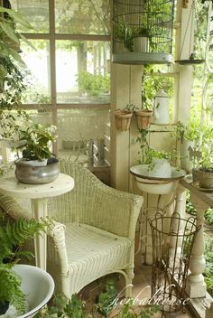a chair in the sunroom