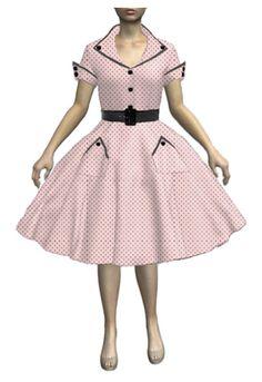 1950s Rockabilly Button Collar Dress by Amber Middaugh