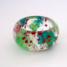 Red Baby's Breath with Blue and Green Hydrangea  Resin Bangle.  Chunky Bangle with Pressed Flowers.  Real Flowers -Botanical Jewelry.