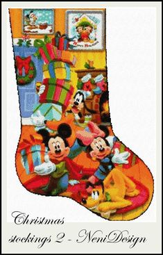 Disney Stockings, Disney Christmas Stockings, Cross Stitch Christmas Stockings, Christmas Stocking Pattern, Christmas Cross, Christmas Door, Santa Cross Stitch, Cross Stitch Stocking, Disney Stich
