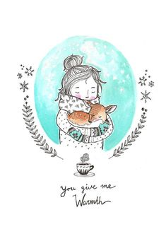 Marieke ten Berge 'Postcard You Give Me Warmth' Winter Illustration, Art Et Illustration, Christmas Illustration, Illustrations, Christmas Drawing, Christmas Art, Art Journals, Cute Drawings, Painting Inspiration