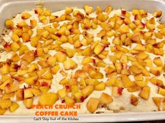 This amazing layered coffee cake has two coffee cake layers, two streusel layers, two peach layers, then it's layered with pecans and drizzled with powdered sugar icing. It's terrific for company or holiday dinners or for breakfast! Pear Yogurt, Yogurt Cake, Peach Coffee Cakes, Peach Cake, Powdered Sugar Icing, Peach Bread, Streusel Cake, B Recipe, Layered Desserts