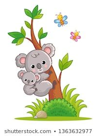 Koala with a cub on its back climbs a tree. Vector illustration with cute animal in cartoon style. Art Drawings For Kids, Drawing For Kids, Painting For Kids, Cartoon Sea Animals, Cute Animals, Koala Tattoo, Koala Illustration, Cute Bunny Cartoon, Disney Cartoon Characters