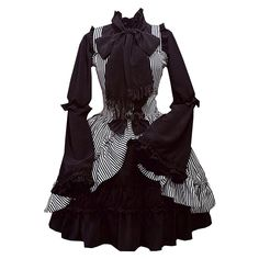 Partiss Women's Two-pieces Trumpet Sleeve Bows Ruffled Lolita Dress, XS, Black at Amazon Women's Clothing store: