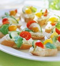 Open Face Sandwiches Recipe: Made these for a bridal shower, they were delicious. I altered the recipe a little by brushing the bread with a little olive oil + sprinkle of sea salt before toasting in the broiler for a few minutes. I would also double the spread recipe if making agin.