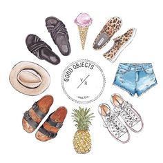 Good objects from summer vacation ! #pineapple #icecream #slides #denim #converse #goodobjects