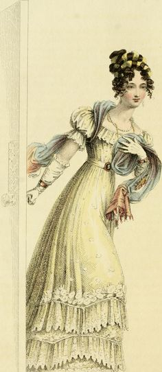 Evening dress, 1826. Ackermann's Repository of Arts, Literature, Commerce, Manufacture, Fashions and Politics.