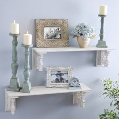 Unclutter your space and transform it into a relaxing oasis. Our Ivory Carved Shelves are perfect for holding sentimental items and candles, and, with decorative carved siding, these shelves only add to the decor!